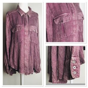 Free People Oversized Purple Button Up Soft Blouse
